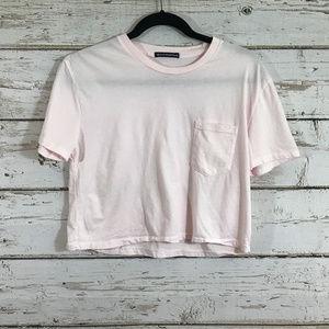 Brandy Melville Pink One Pocket Crop Top